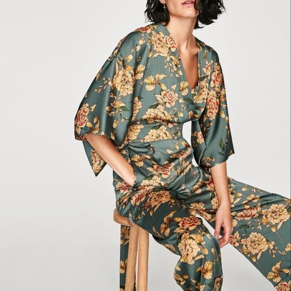 6875189b932a NWT Floral Kimono Jumpsuit Zara